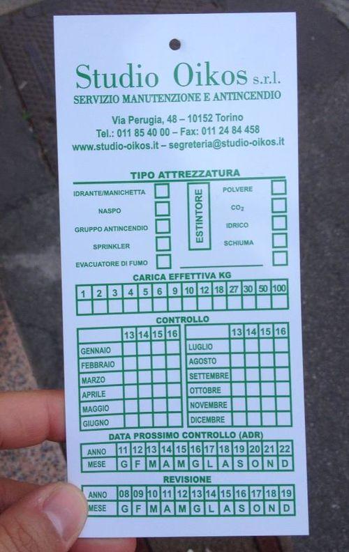 cartellini in pvc per estintori terghette manutenzione