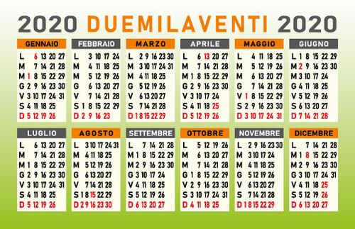 Calendario 2020 Con Numero Settimane.Calendario Religioso 2020